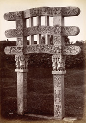 Rear view of small gate of ruined tope. (Sanchi)